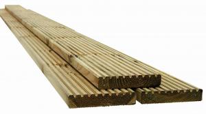 Lame de terrasse rainurée antidérapante en pin OLG - 240 x 12 x 2.5 cm