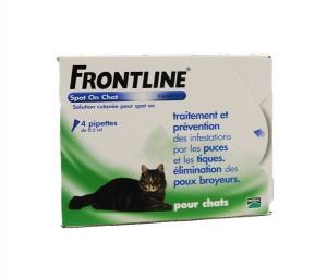Frontline Spot On x 4 pour chat - Traitement, prévention et élimination de puces, tiques et poux