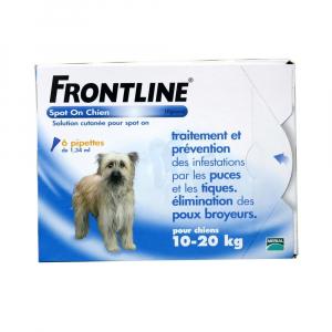 Frontline Spot On x 4 pour chien de 10 à 20 kg - Traitement, prévention et élimination de puces, tiques et poux