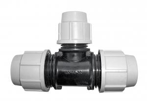 Raccord à compression Té réduit - Plasson - Ø 40/32/40 mm