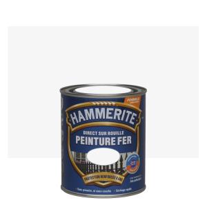 Peinture fer - Hammerite - Direct sur rouille - Martelé Blanc Brume - 0.75 L