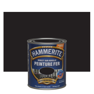 Peinture fer - Hammerite - Direct sur rouille - Martelé Noir - 0.75 L