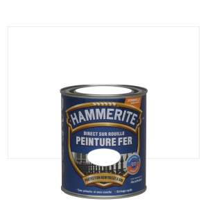 Peinture fer - Hammerite - Direct sur rouille - Blanc brillant - 0.75 L