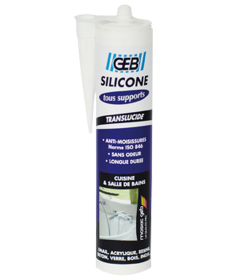 Silicone tous supports sanitaires - GEB - Transparent - 280 ml