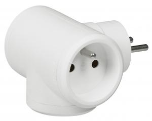 Fiche multiprise avec terre - Le Grand - 3 sorties latérales - En plastique - Blanc