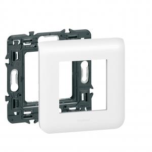 Plaque avec support Mosaic - Le Grand - Pour 2 modules fixation à griffes - Blanc