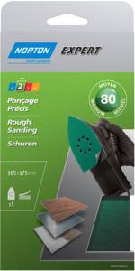 Patins auto-agrippants pour ponceuse Grain 80 NORTON EXPERT - 175 x 105 mm