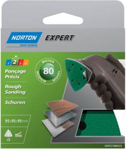 Abrasifs triangle pour ponceuse Grain 80 NORTON EXPERT - 95 x 95 x 95 mm