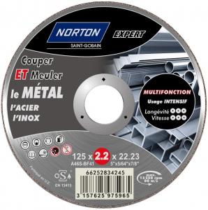Disque de tronçonnage multifonction NORTON EXPERT - Ø 125 x 2.2 x 22.23 mm