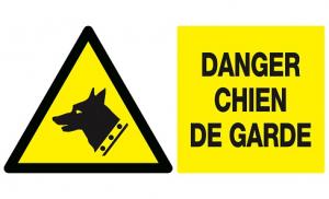 Panneau PS choc Danger chien de garde - Taliaplast - 33 x 20 cm