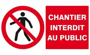 """Panneau PS choc """"Chantier interdit au public"""" - Taliaplast - 33 x 20 cm"""