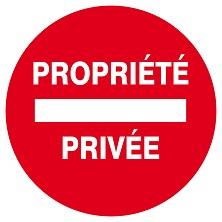 """Panneau Ps choc """"Propriété privée"""" - Taliaplast - Ø 30 cm - Rouge"""