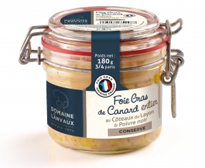 Foie Gras de Canard entier - Domaine de Lanvaux - Au Côteaux du Layon et Poivre noir - 180 g