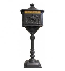Boîte aux lettres sur pied - Dommartin - En fonte - 42 x 28 x 115 cm