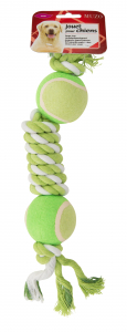 Jouet maxi corde double balle tennis - Muzo - 39 cm