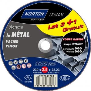 Meules de tronçonnage métal NORTON EXPERT - Ø 230 x 2.5 x 22.23 mm