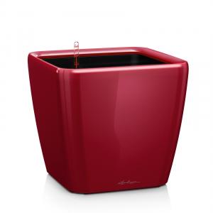 Pot Quadro LS 28 - All in One Set - Lechuza - Ø 28,5 x 26 cm - Rouge scarlet brillant