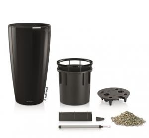 Pot Rondo Premium D 32 kit complet - Lechuza -  Noir brillant