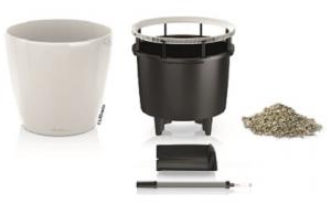 Pot classico premium  LS 43 kit complet - Lechuza - Blanc brillant