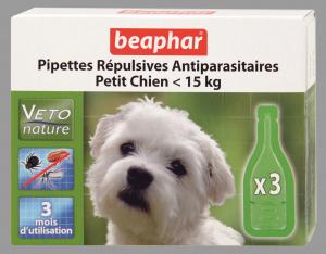 3 pipettes répulsives antiparasitaires pour petit chien - Beaphar