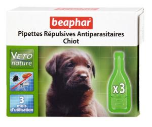 3 pipettes répulsives antiparasitaires pour petit chiot - Beaphar