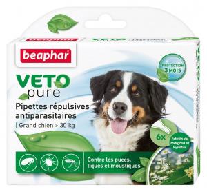 6 pipettes répulsives antiparasitaires pour grand chien - Beaphar