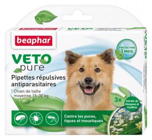3 pipettes répulsives antiparasitaires pour chien de taille moyenne - Beaphar