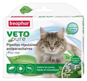 3 pipettes répulsives antiparasitaires pour chat - Beaphar