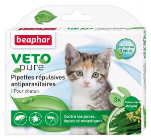 3 pipettes répulsives antiparasitaires pour chaton - Beaphar
