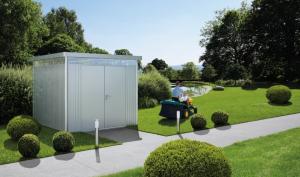Abri de jardin argent métallique - Highline - Double porte - Taille 4 - 275 x 275 x 222 cm