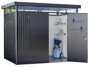 Abri de jardin gris foncé métallique - Highline - Double porte - taille 4 - 275x 275 x 222 cm