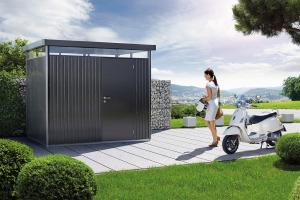 Abri de jardin gris foncé métallique - Highline - Porte standard - T2 - 275 x 195 x 222 cm