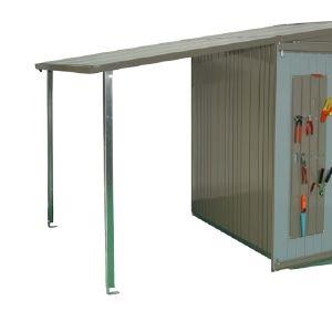 Auvent - Abri de jardin Europa - Taille4/5 - Gris quartz - 144,5 x 224 x 156/181 cm