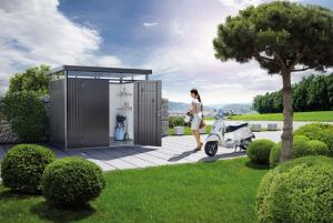 Abri de jardin gris foncé métallique - Highline - Double porte - Taille 2 - 275x 195 x 222 cm