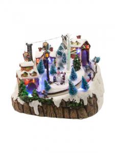 Village Noël avec ski - LED - Thème holiday adventures avec musique et mouvement