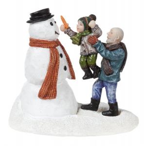 Figurine bonhomme de neige et grand-père   - 8X5X7 cm - Luville