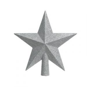 Cimier de sapin - Etoile - Argent paillettes - 19 cm