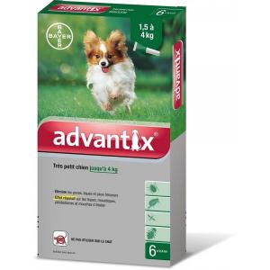 Antiparasitaire Advantix spot-on - Très petit chien de 1,5 à 4 kg - 6 pipettes - Bayer