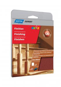 Toile abrasive flexible bois brut ou peint Grain 120 NORTON EXPERT - 230 x 120 mm