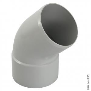 Coude 45° pour gouttière développé de 25 - GIRPI - Mâle-Femelle - Ø 80 mm - Gris