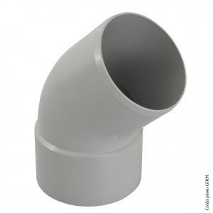 Coude 45° pour gouttière développé de 33 - GIRPI - Mâle-Femelle - Ø 100 mm - Gris