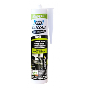 Silicone tous supports sanitaires - GEB - Noir - 280 ml