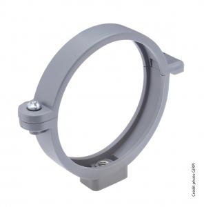 Collier de descente de gouttière ronde avec insert 7 x 150 - GIRPI - Ø 100 mm - Gris