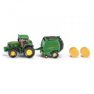 Tracteur John Deere avec presse - Siku - 164