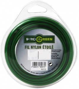 Fil nylon étoilé - Progreen - vert - Ø 1.6mm x 15m