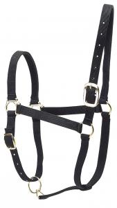 Licol nylon doublé cuir pour chevaux de trait - Noir