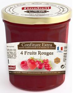 Confiture 4 fruits rouges au miel - Finabeil - 375 gr