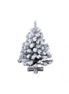 Sapin Toronto - Enneigé - 101 branches - Croix bois - Blanc/vert - Ø 48 cm - 75cm