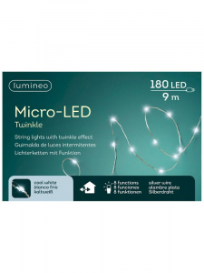 Guirlande lumineuse - Micro-LED - Argent /blanc froid - 9 m - Câble argent - 180 LEDS