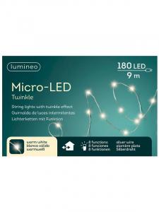 Guirlande - Micro-LED - Argent/blanc chaud  - 9 cm - Câble argent